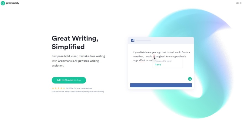 Grammerly website snap shot